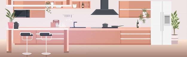 Interior de la cocina moderna vacía no hay gente casa habitación con muebles horizontales