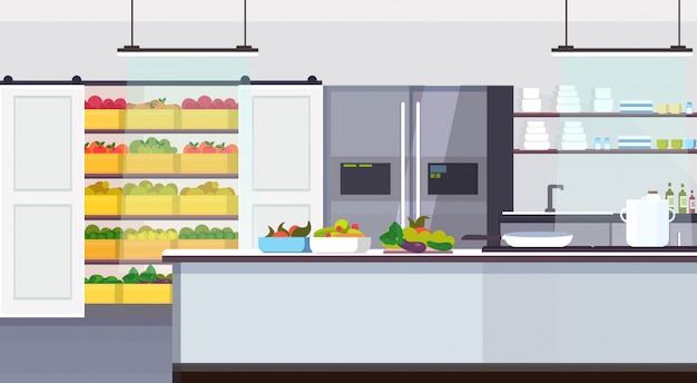 Interior de cocina de restaurante comercial moderno con alimentos saludables frutas y verduras cocina y concepto culinario vacío sin gente horizontal plana