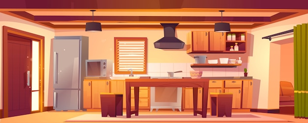 Interior de cocina de vector en casa rústica