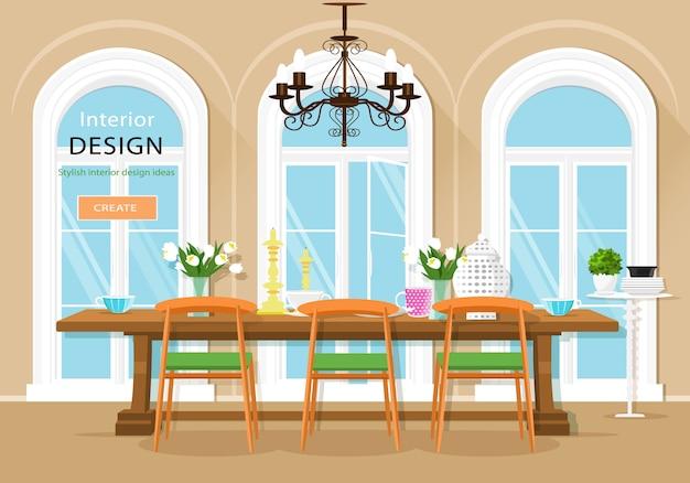 Interior de comedor gráfico vintage con mesa de comedor, sillas y grandes ventanales. ilustración de estilo plano.