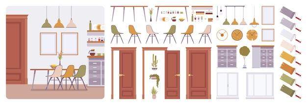 Interior de comedor, kit de creación de hogar moderno