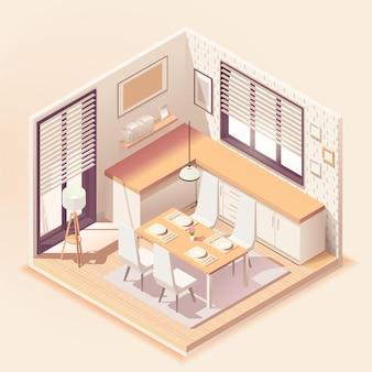 Interior de comedor moderno con muebles
