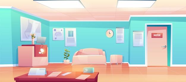 Interior del corredor de clínica vacía