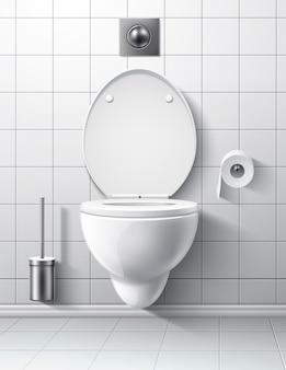 Interior del cuarto de baño moderno con la entrega de la taza del inodoro botón de descarga del cepillo del inodoro lavabo realista