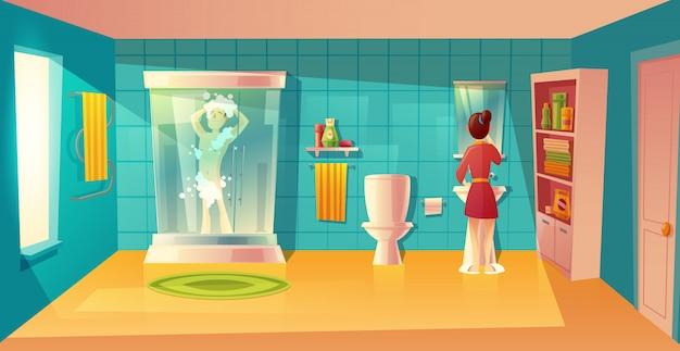 Interior del cuarto de baño con pareja en la higiene de la mañana. habitación combinada con muebles. hombre en la ducha