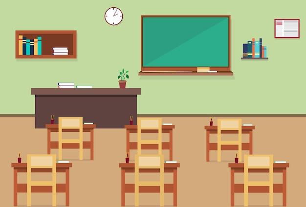 Interior de la habitación de clase de escuela vacía