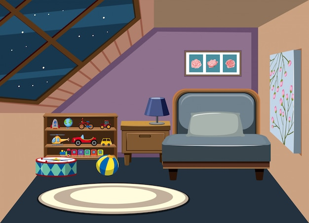 Interior de la habitación del ático