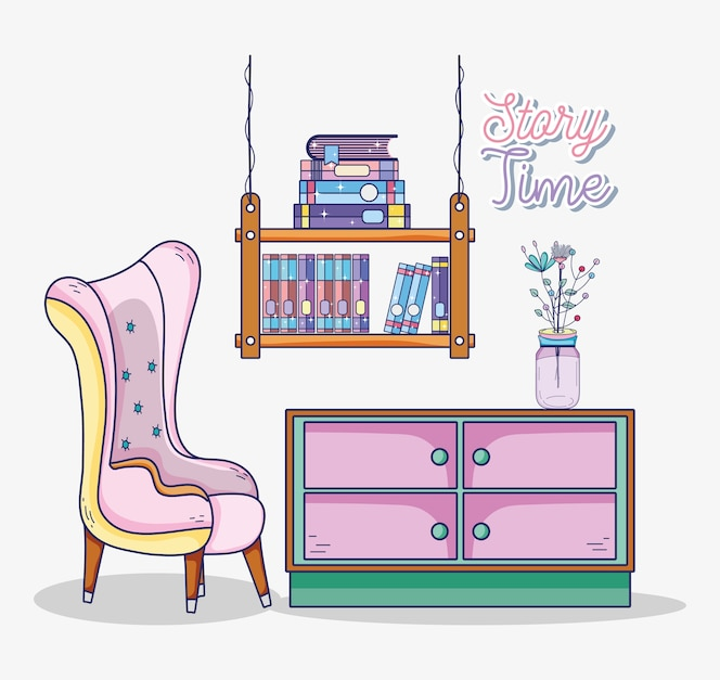 Interior de la sala de estudio con libros y escritorio