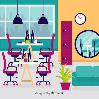 Interior de oficina moderna con diseño plano