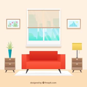 Interior de salón con sofá rojo en diseño plano