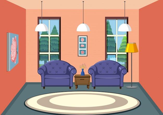 Interior del diseño de la sala de estar