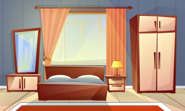 Interior de dibujos animados de acogedor dormitorio con ventana, sala de estar con cama doble, aparador, alfombra