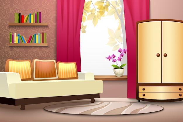 Interior de dibujos animados de habitación