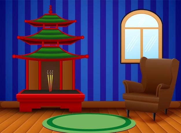 Interior de dibujos animados de la sala de estar china