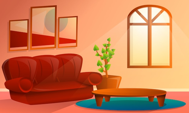 Interior de dibujos animados de sala de estar, ilustración vectorial