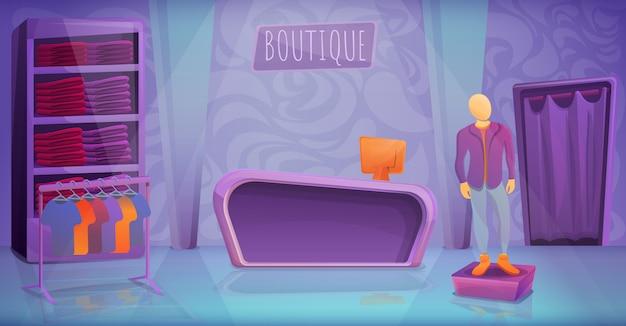 Interior de dibujos animados de la tienda de ropa boutique, ilustración vectorial