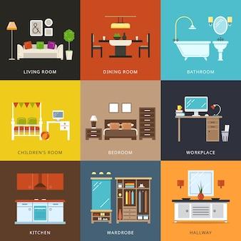 Interior de diferentes tipos de habitaciones. muebles para el hogar, pasillo y guardarropa, lugar de trabajo y vida, casa de confort. ilustración de vector de estilo plano