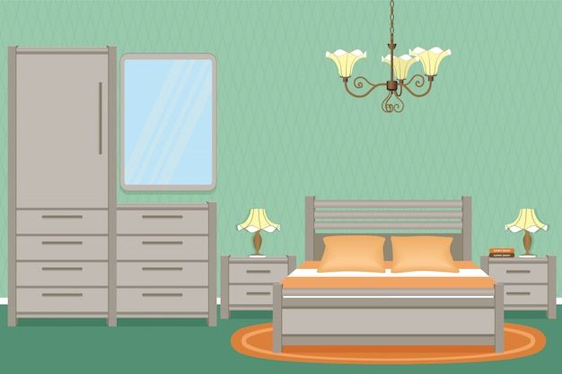 Interior de dormitorio con cama, mesitas de noche, lámparas de pared y muebles de dormitorio.