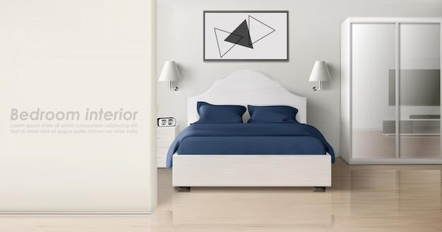 Interior de dormitorio en colores monocromos, hogar moderno