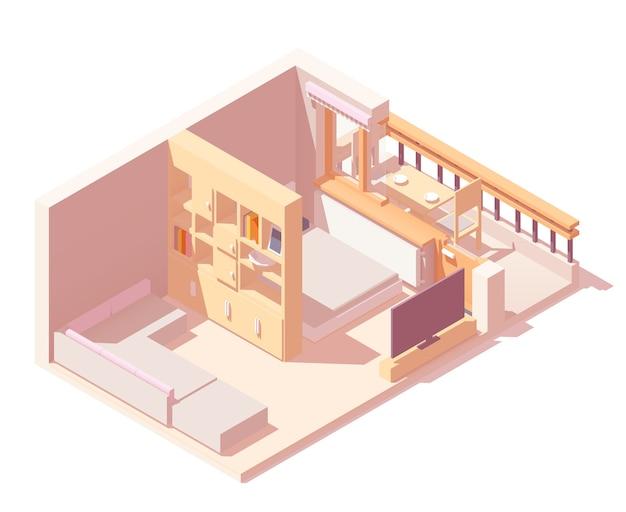Interior de dormitorio dividido en zonas isométricas con cama, armario, sofá, ventanas y balcón