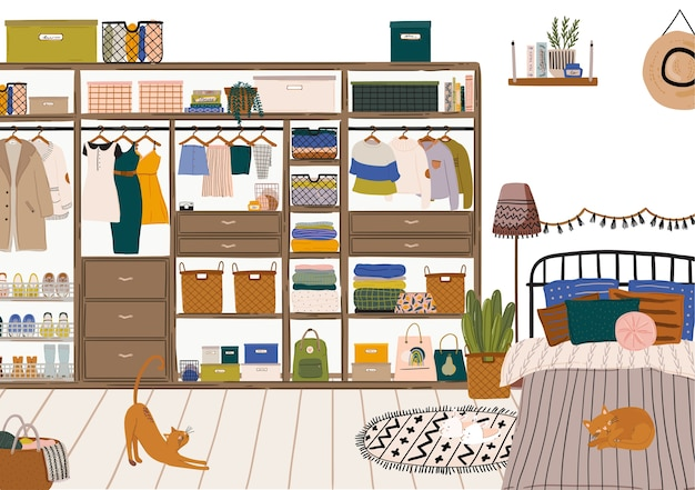 Interior de dormitorio escandinavo con estilo: cama, sofá, armario, espejo, mesita de noche, planta, lámpara