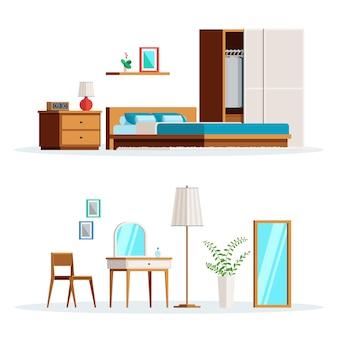 Interior de dormitorio de escena