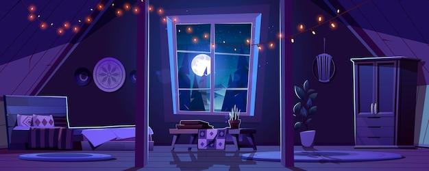 Interior del dormitorio en estilo boho en el ático por la noche