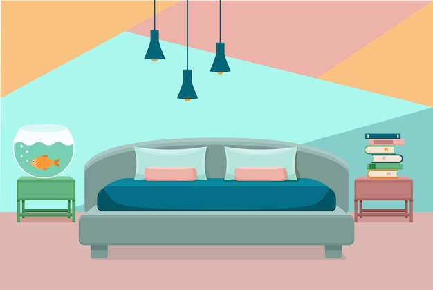 Interior del dormitorio. ilustración colorida de cama de muebles de apartamento de hotel, acuario, lámpara, libros de la casa.