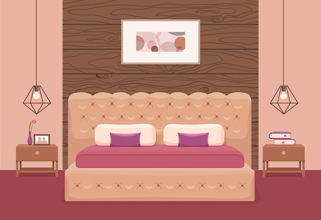 Interior del dormitorio. ilustración colorida de la cama de los muebles del apartamento del hotel, mesita de noche, lámpara, planta de la casa.