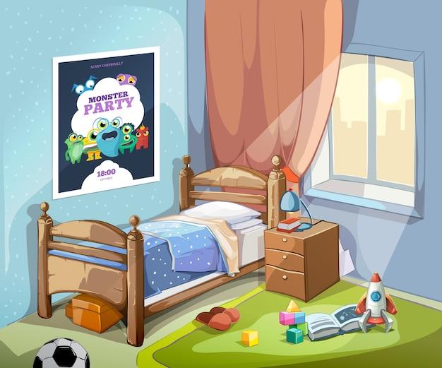 Interior de dormitorio infantil en estilo de dibujos animados con pelota de fútbol y juguetes. ilustración vectorial