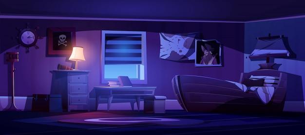 Interior de dormitorio infantil en temática pirata por la noche