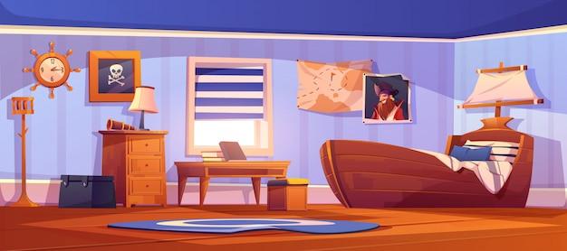 Interior de dormitorio infantil en temática pirata