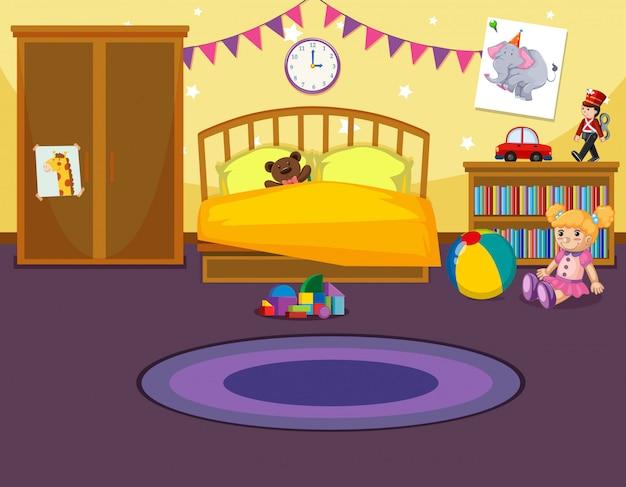 Interior del dormitorio infantil.