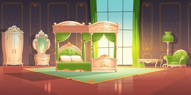 Interior de dormitorio de lujo con muebles de estilo romántico.