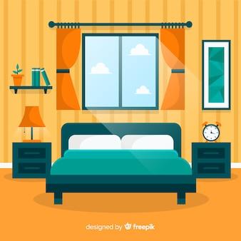 Interior de dormitorio moderno con diseño plano