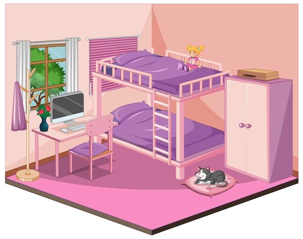 Interior de dormitorio con muebles en tema rosa.