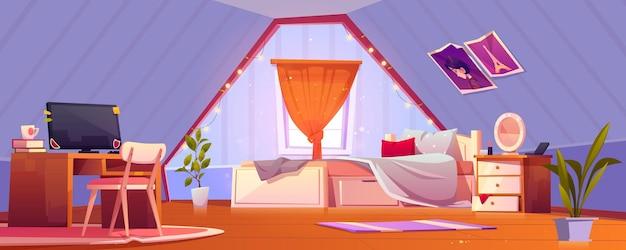 Interior de dormitorio de niña en buhardilla adolescente habitación abuhardillada