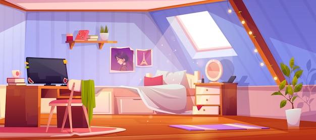 Interior de dormitorio de niña de dibujos animados en el ático