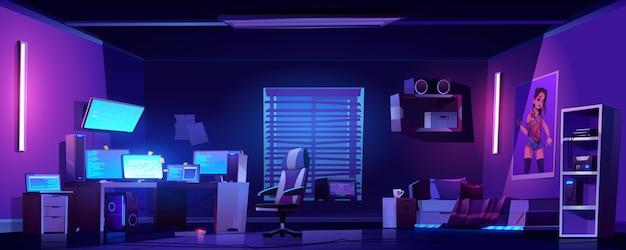 Interior de dormitorio de niño adolescente, computadoras en el escritorio