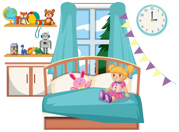 Interior de dormitorio de niño lindo