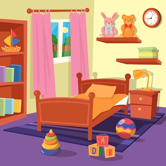 Interior del dormitorio de los niños. cuarto de los niños. ilustración vectorial