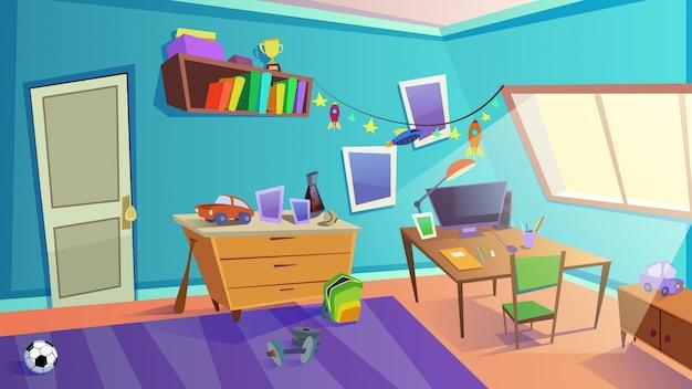 Interior de dormitorio de niños de día con ventana, muebles