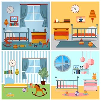 Interior del dormitorio de los niños. muebles infantiles y juguetes. ilustración vectorial
