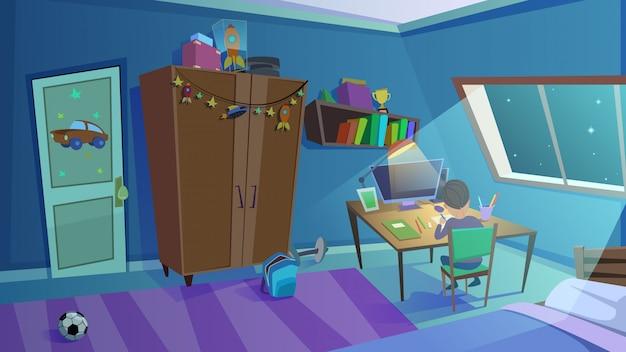 Interior de dormitorio de niños de noche con ventana, muebles