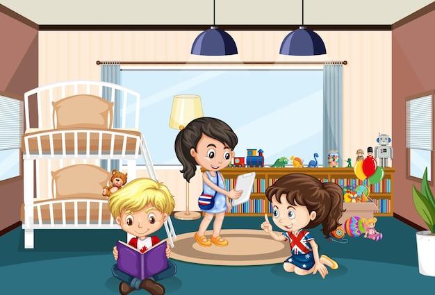 Interior de dormitorio con personaje de dibujos animados de niños