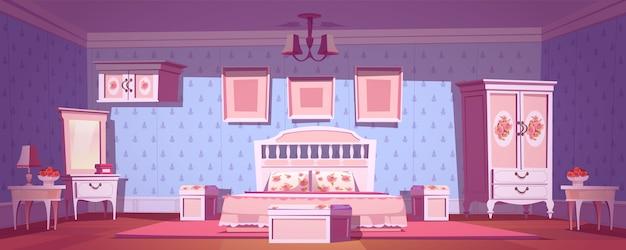 Interior de dormitorio shabby chic, sala vintage vacía con elegantes muebles retro