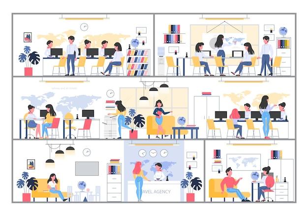 Interior del edificio de la agencia de viajes. personas sentadas en el escritorio y trabajar en la computadora. cliente eligiendo un viaje. oficina del centro de turismo. ilustración.