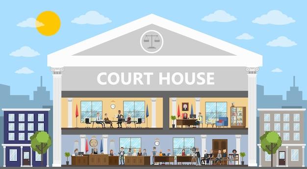 Interior del edificio de la corte con sala de audiencias y oficinas. proceso de juicio con juez, jurado y sospechoso. ilustración vectorial plana