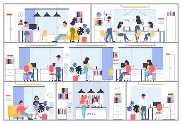 Interior del edificio de la empresa comercial. lugar de trabajo de oficina, área de negocios, elementos corporativos y equipamiento. trabajo en equipo, concepto de puesta en marcha. ilustración