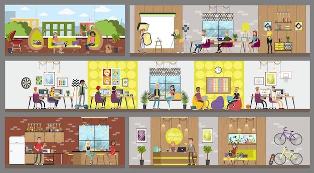 Interior del edificio de oficinas de estudio de diseño. personas creativas que trabajan juntas en un espacio de trabajo, comparten ideas, toman café, etc. ilustración de vector plano aislado